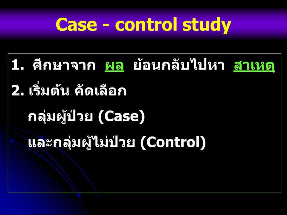Case - control study 1. ศึกษาจาก ผล ย้อนกลับไปหา สาเหตุ 2. เริ่มต้น คัดเลือก กลุ่มผู้ป่วย (Case) และกลุ่มผู้ไม่ป่วย (Control)