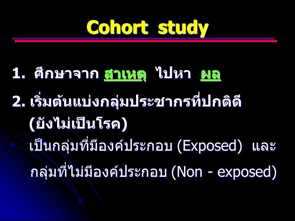 Cohort study 1.ศึกษาจาก สาเหตุ ไปหา ผล 2.