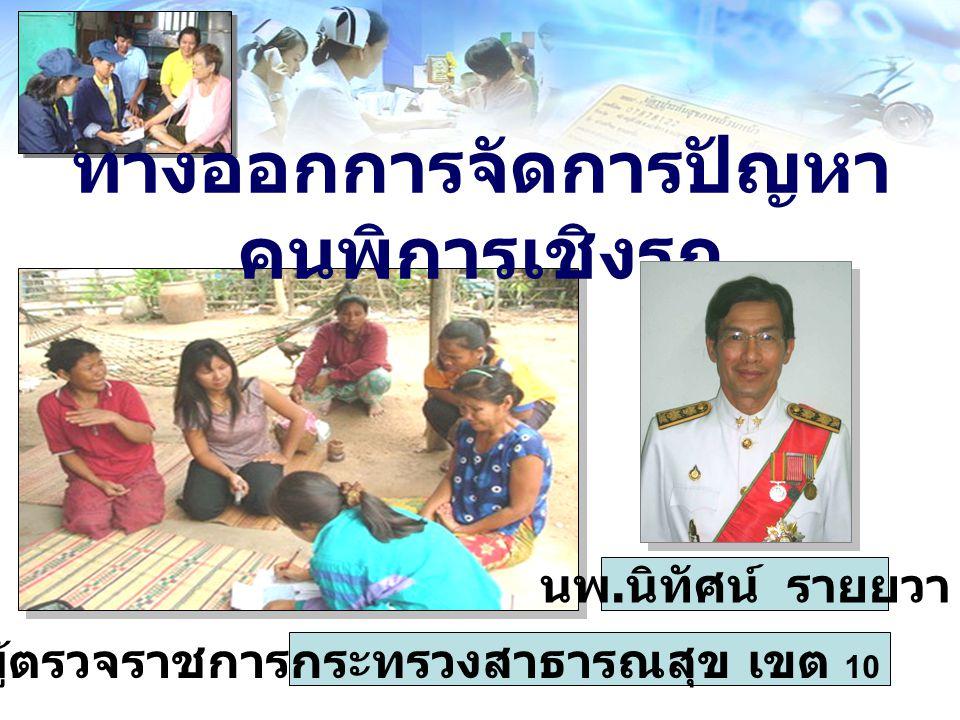 ทางออกการจัดการปัญหา คนพิการเชิงรุก นพ. นิทัศน์ รายยวา ผู้ตรวจราชการกระทรวงสาธารณสุข เขต 10