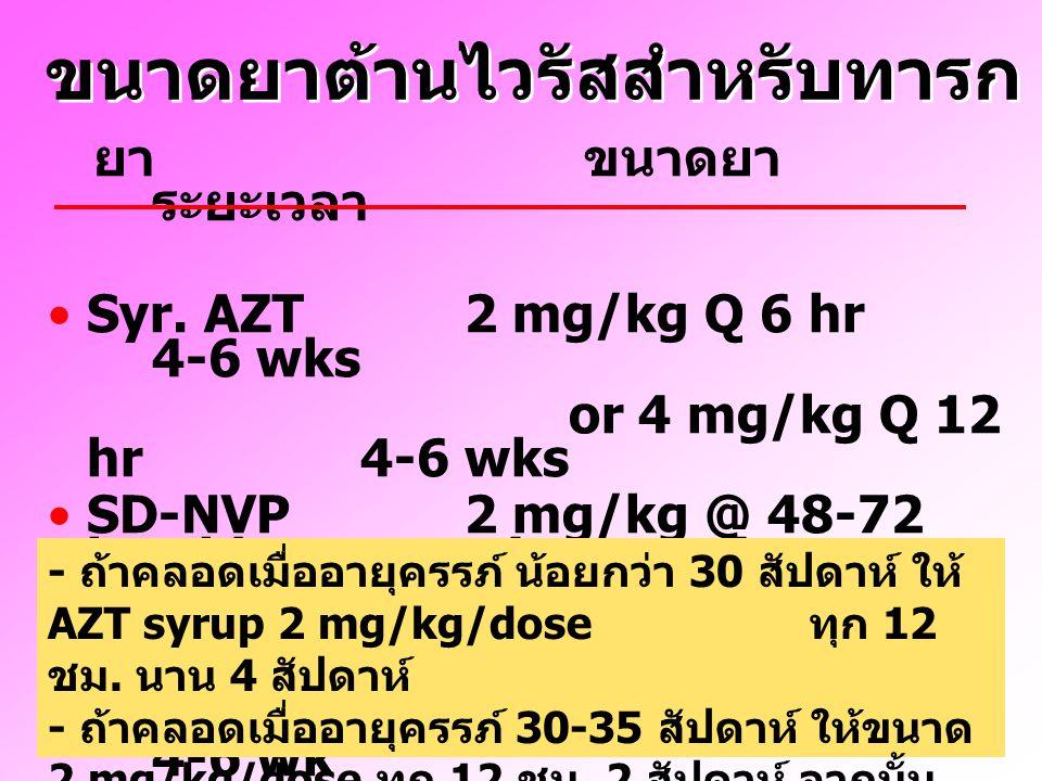 ขนาดยาต้านไวรัสสำหรับทารก ยา ขนาดยา ระยะเวลา Syr. AZT 2 mg/kg Q 6 hr 4-6 wks or 4 mg/kg Q 12 hr 4-6 wks SD-NVP 2 mg/kg @ 48-72 hr-old once (or twice)