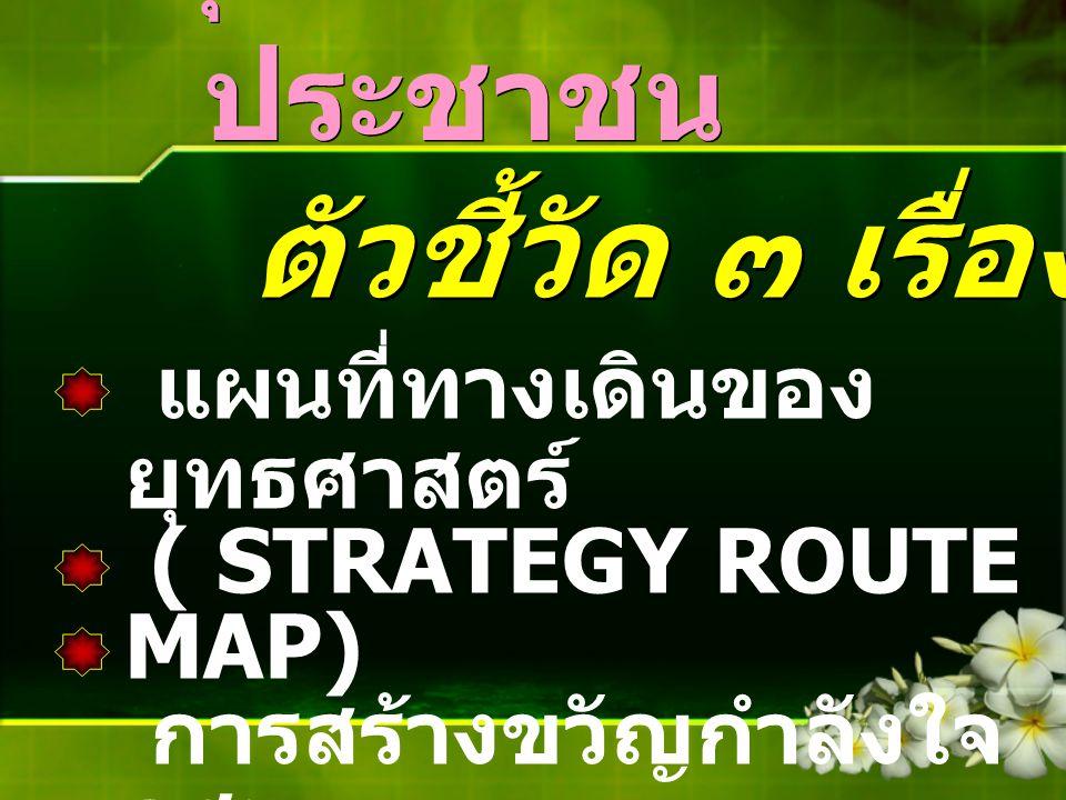 การพัฒนา สุขภาพภาค ประชาชน ตัวชี้วัด ๓ เรื่อง ๓ ตัว แผนที่ทางเดินของ ยุทธศาสตร์ ( STRATEGY ROUTE MAP) การสร้างขวัญกำลังใจ อสม. จิตอาสา