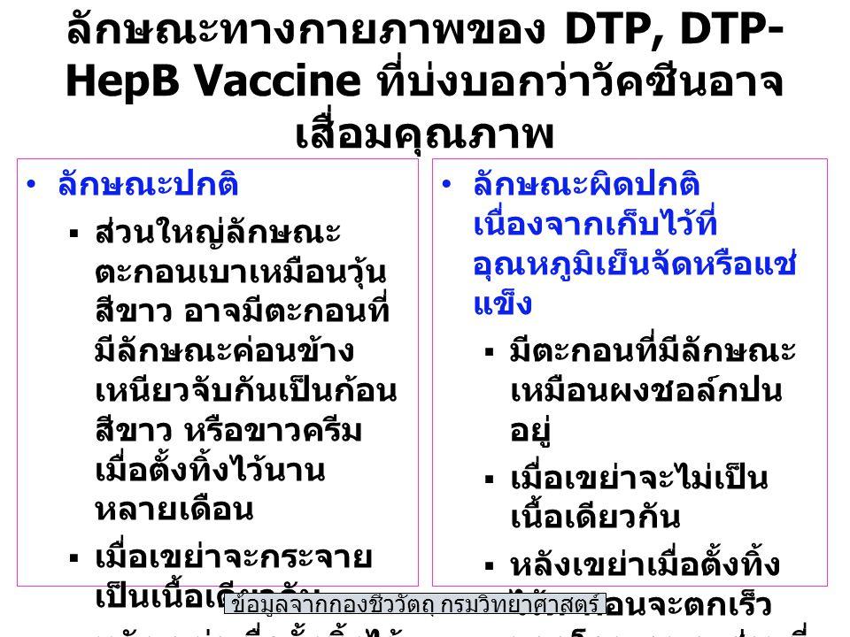 ลักษณะทางกายภาพของ DTP, DTP- HepB Vaccine ที่บ่งบอกว่าวัคซีนอาจ เสื่อมคุณภาพ ลักษณะปกติ  ส่วนใหญ่ลักษณะ ตะกอนเบาเหมือนวุ้น สีขาว อาจมีตะกอนที่ มีลักษณะค่อนข้าง เหนียวจับกันเป็นก้อน สีขาว หรือขาวครีม เมื่อตั้งทิ้งไว้นาน หลายเดือน  เมื่อเขย่าจะกระจาย เป็นเนื้อเดียวกัน  หลังเขย่าเมื่อตั้งทิ้งไว้ จะใช้เวลาในการ ตกตะกอนเกิน 1 ชม.