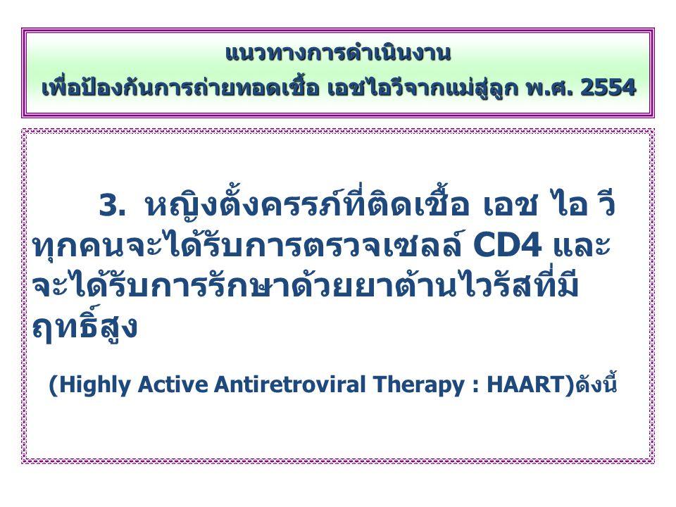 3. หญิงตั้งครรภ์ที่ติดเชื้อ เอช ไอ วี ทุกคนจะได้รับการตรวจเซลล์ CD4 และ จะได้รับการรักษาด้วยยาต้านไวรัสที่มี ฤทธิ์สูง (Highly Active Antiretroviral Th