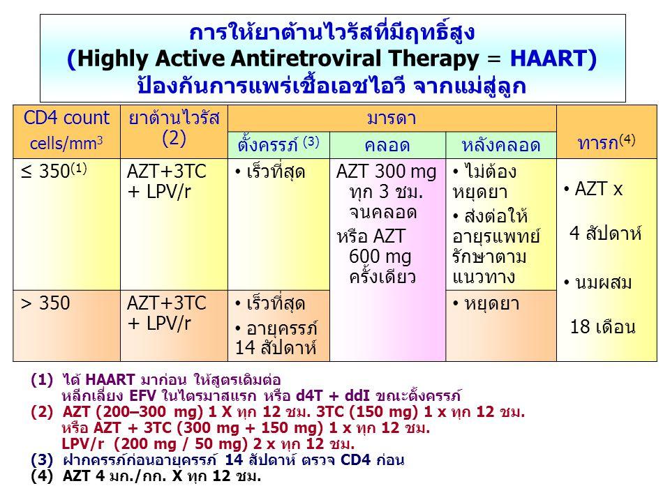 (1) ได้ HAART มาก่อน ให้สูตรเดิมต่อ หลีกเลี่ยง EFV ในไตรมาสแรก หรือ d4T + ddI ขณะตั้งครรภ์ (2) AZT (200–300 mg) 1 X ทุก 12 ชม. 3TC (150 mg) 1 x ทุก 12