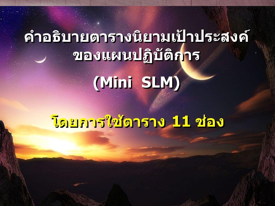 คำอธิบายตารางนิยามเป้าประสงค์ ของแผนปฏิบัติการ (Mini SLM) คำอธิบายตารางนิยามเป้าประสงค์ ของแผนปฏิบัติการ (Mini SLM) โดยการใช้ตาราง 11 ช่อง