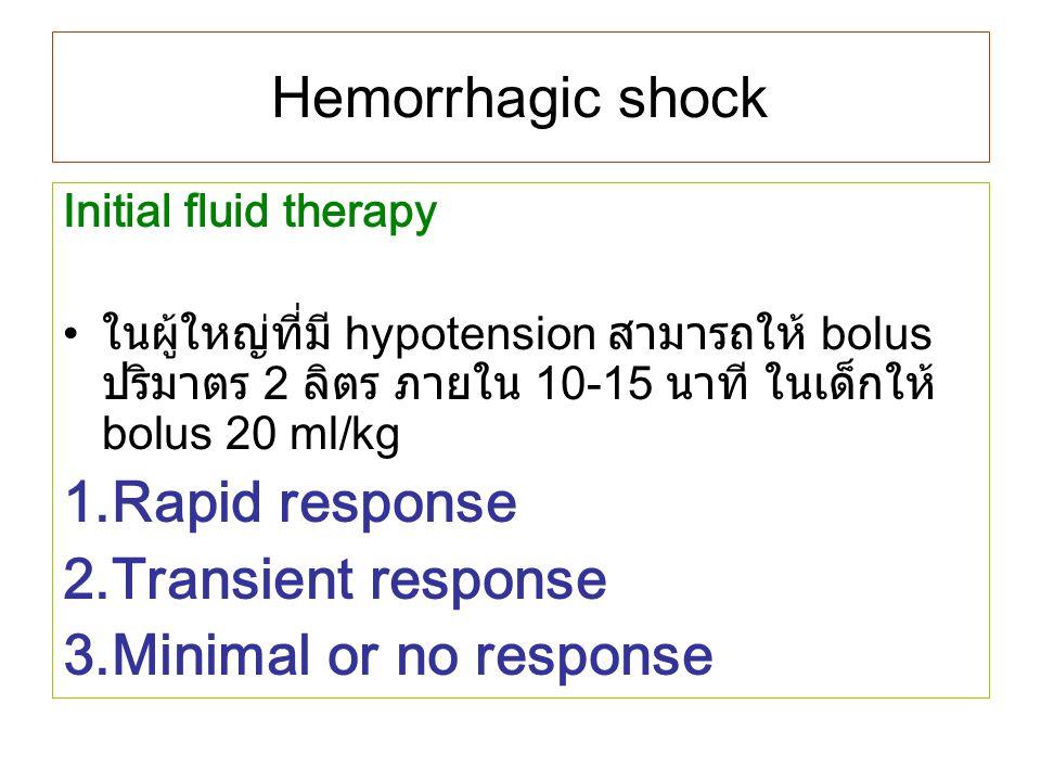 Hemorrhagic shock Initial fluid therapy ในผู้ใหญ่ที่มี hypotension สามารถให้ bolus ปริมาตร 2 ลิตร ภายใน 10-15 นาที ในเด็กให้ bolus 20 ml/kg 1.Rapid re