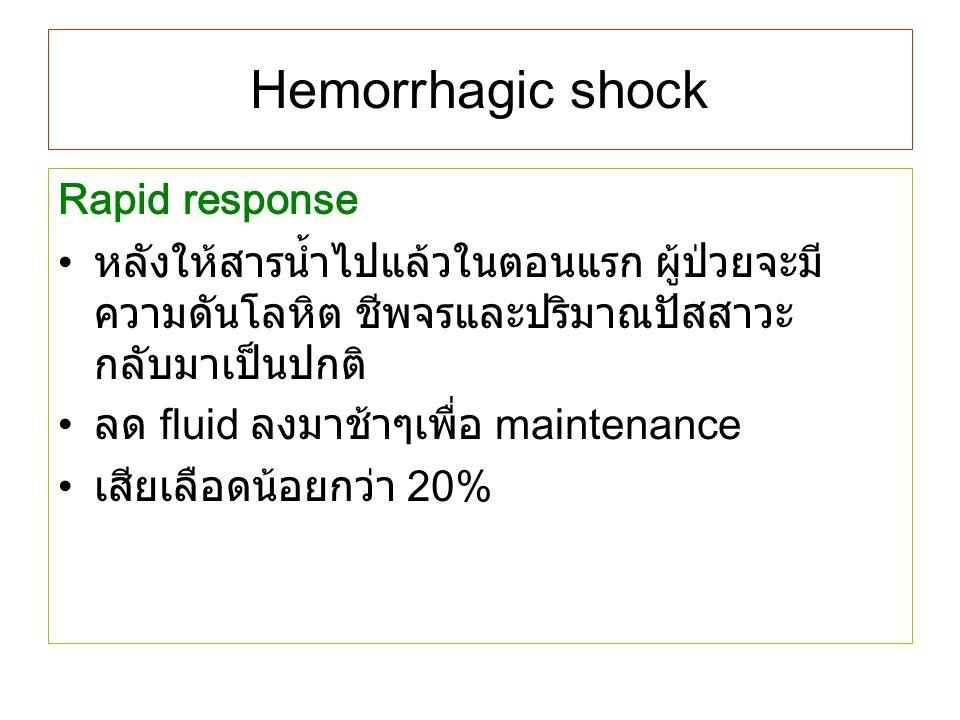 Hemorrhagic shock Rapid response หลังให้สารน้ำไปแล้วในตอนแรก ผู้ป่วยจะมี ความดันโลหิต ชีพจรและปริมาณปัสสาวะ กลับมาเป็นปกติ ลด fluid ลงมาช้าๆเพื่อ main