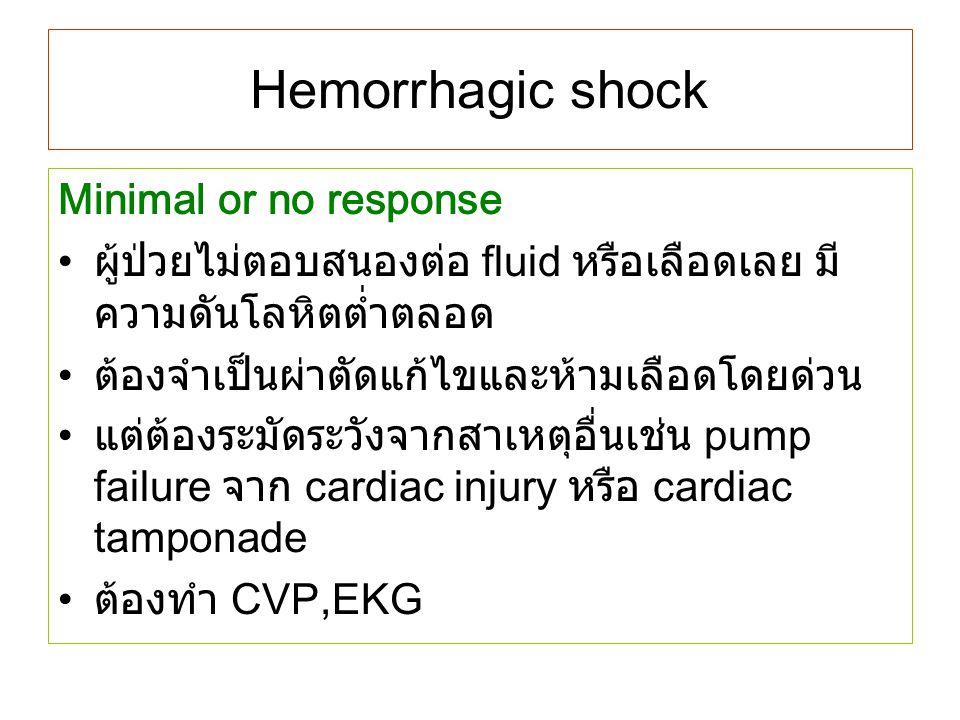 Hemorrhagic shock Minimal or no response ผู้ป่วยไม่ตอบสนองต่อ fluid หรือเลือดเลย มี ความดันโลหิตต่ำตลอด ต้องจำเป็นผ่าตัดแก้ไขและห้ามเลือดโดยด่วน แต่ต้