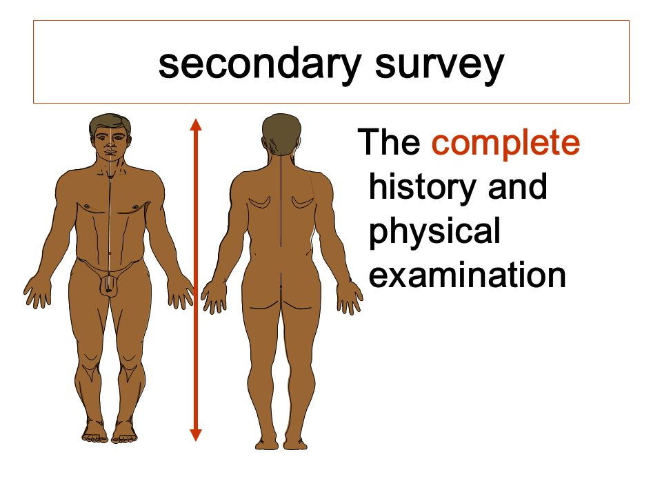 secondary survey The complete history and physical examination