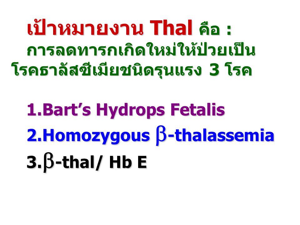 เป้าหมายงาน Thal คือ : การลดทารกเกิดใหม่ให้ป่วยเป็น โรคธาลัสซีเมียชนิดรุนแรง 3 โรค 1.Bart's Hydrops Fetalis 2.Homozygous  -thalassemia 3.  -thal/ Hb