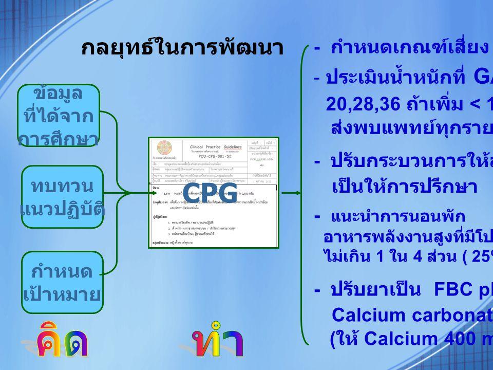 กลยุทธ์ในการพัฒนา CPG ข้อมูล ที่ได้จาก การศึกษา ทบทวน แนวปฏิบัติ กำหนด เป้าหมาย - กำหนดเกณฑ์เสี่ยง LBW - ประเมินน้ำหนักที่ GA 20,28,36 ถ้าเพิ่ม < 1 กก.