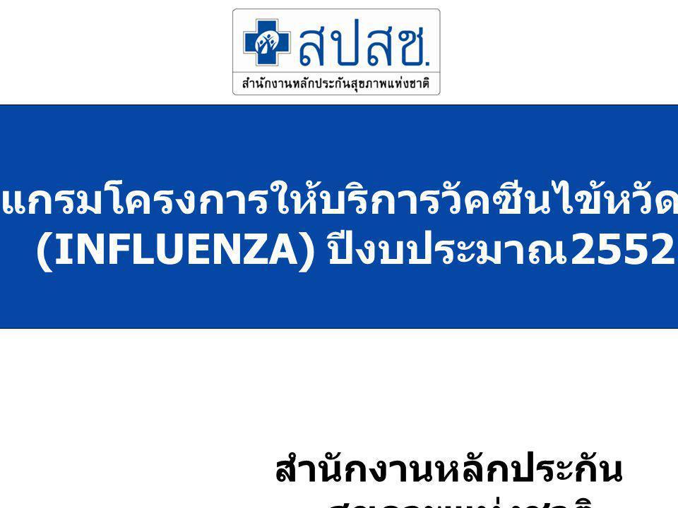 โปรแกรมโครงการให้บริการวัคซีนไข้หวัดใหญ่ (INFLUENZA) ปีงบประมาณ 2552 สำนักงานหลักประกัน สุขภาพแห่งชาติ