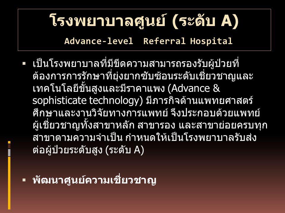 โรงพยาบาลศูนย์ (ระดับ A) Advance-level Referral Hospital  เป็นโรงพยาบาลที่มีขีดความสามารถรองรับผู้ป่วยที่ ต้องการการรักษาที่ยุ่งยากซับซ้อนระดับเชี่ยว