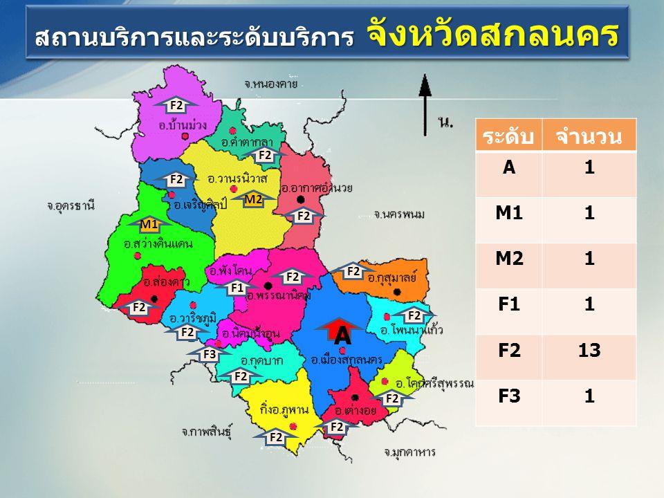 สถานบริการและระดับบริการ จังหวัดสกลนคร A M1 M2 F1 F2 F3 F2 ระดับจำนวน A1 M11 M21 F11 F213 F31