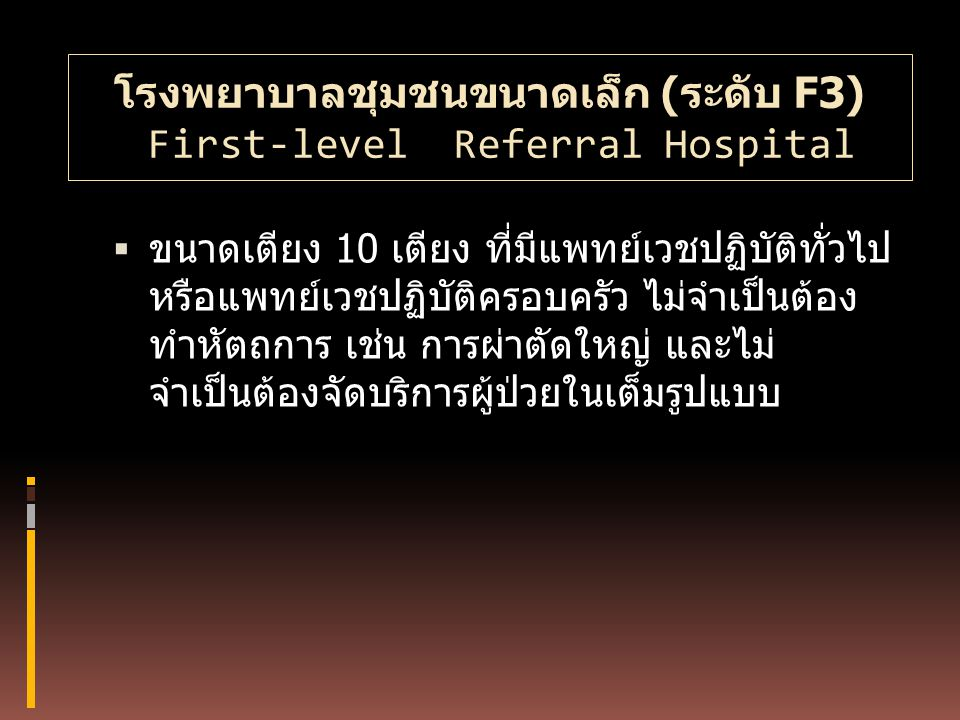 โรงพยาบาลชุมชนขนาดเล็ก (ระดับ F3) First-level Referral Hospital  ขนาดเตียง 10 เตียง ที่มีแพทย์เวชปฏิบัติทั่วไป หรือแพทย์เวชปฏิบัติครอบครัว ไม่จำเป็นต