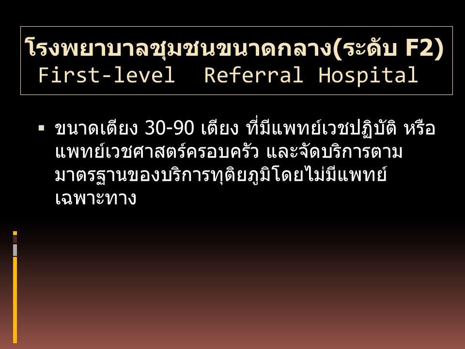 โรงพยาบาลชุมชนขนาดกลาง(ระดับ F2) First-level Referral Hospital  ขนาดเตียง 30-90 เตียง ที่มีแพทย์เวชปฏิบัติ หรือ แพทย์เวชศาสตร์ครอบครัว และจัดบริการตา