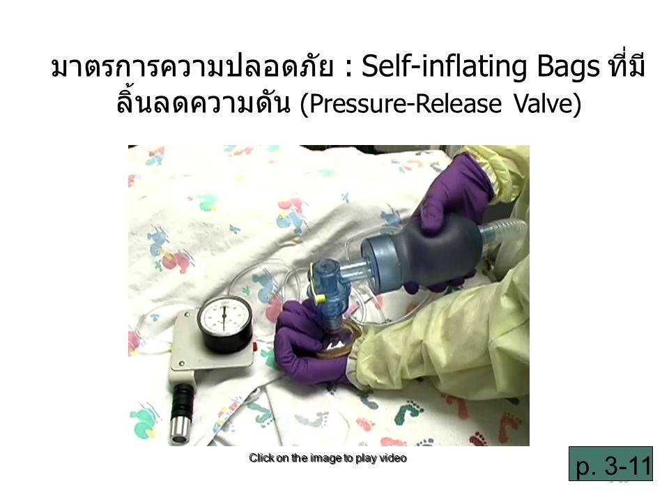 3-35 มาตรการความปลอดภัย : Self-inflating Bags ที่มี ลิ้นลดความดัน (Pressure-Release Valve) Click on the image to play video p.