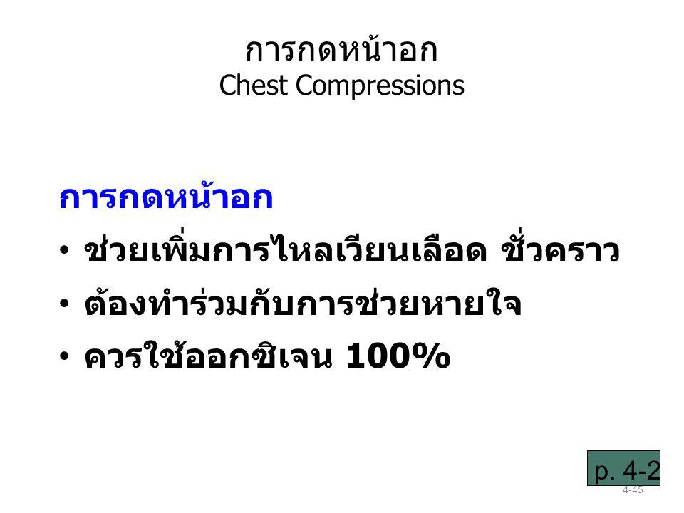 4-45 การกดหน้าอก Chest Compressions การกดหน้าอก ช่วยเพิ่มการไหลเวียนเลือด ชั่วคราว ต้องทำร่วมกับการช่วยหายใจ ควรใช้ออกซิเจน 100% p.