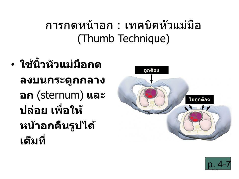 4-52 ใช้นิ้วหัวแม่มือกด ลงบนกระดูกกลาง อก (sternum) และ ปล่อย เพื่อให้ หน้าอกคืนรูปได้ เต็มที่ p.