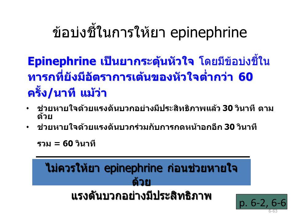 6-63 ข้อบ่งชี้ในการให้ยา epinephrine ช่วยหายใจด้วยแรงดันบวกอย่างมีประสิทธิภาพแล้ว 30 วินาที ตาม ด้วย ช่วยหายใจด้วยแรงดันบวกร่วมกับการกดหน้าอกอีก 30 วินาที รวม = 60 วินาที Epinephrine เป็นยากระตุ้นหัวใจ โดยมีข้อบ่งชี้ใน ทารกที่ยังมีอัตราการเต้นของหัวใจต่ำกว่า 60 ครั้ง/นาที แม้ว่า ไม่ควรให้ยา epinephrine ก่อนช่วยหายใจ ด้วย แรงดันบวกอย่างมีประสิทธิภาพ p.