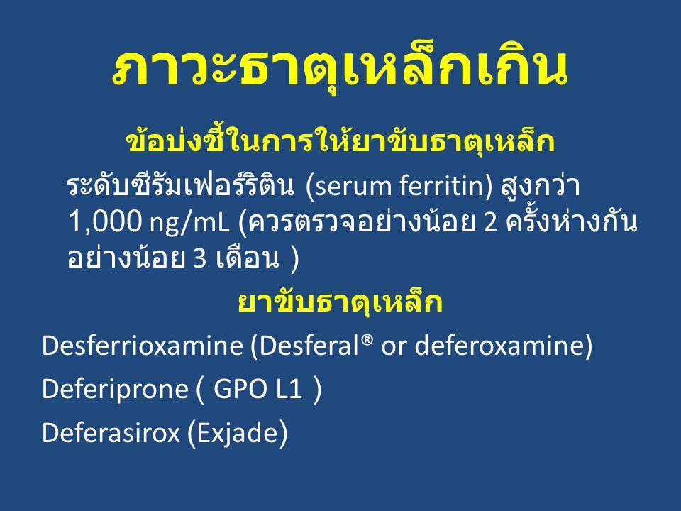 ภาวะธาตุเหล็กเกิน ข้อบ่งชี้ในการให้ยาขับธาตุเหล็ก ระดับซีรัมเฟอร์ริติน (serum ferritin) สูงกว่า 1,000 ng/mL ( ควรตรวจอย่างน้อย 2 ครั้งห่างกัน อย่างน้อย 3 เดือน ) ยาขับธาตุเหล็ก Desferrioxamine (Desferal® or deferoxamine) Deferiprone ( GPO L1 ) Deferasirox (Exjade)