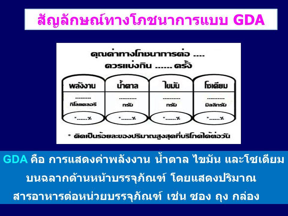 สัญลักษณ์ทางโภชนาการแบบ GDA GDA คือ การแสดงค่าพลังงาน น้ำตาล ไขมัน และโซเดียม บนฉลากด้านหน้าบรรจุภัณฑ์ โดยแสดงปริมาณ สารอาหารต่อหน่วยบรรจุภัณฑ์ เช่น ซ