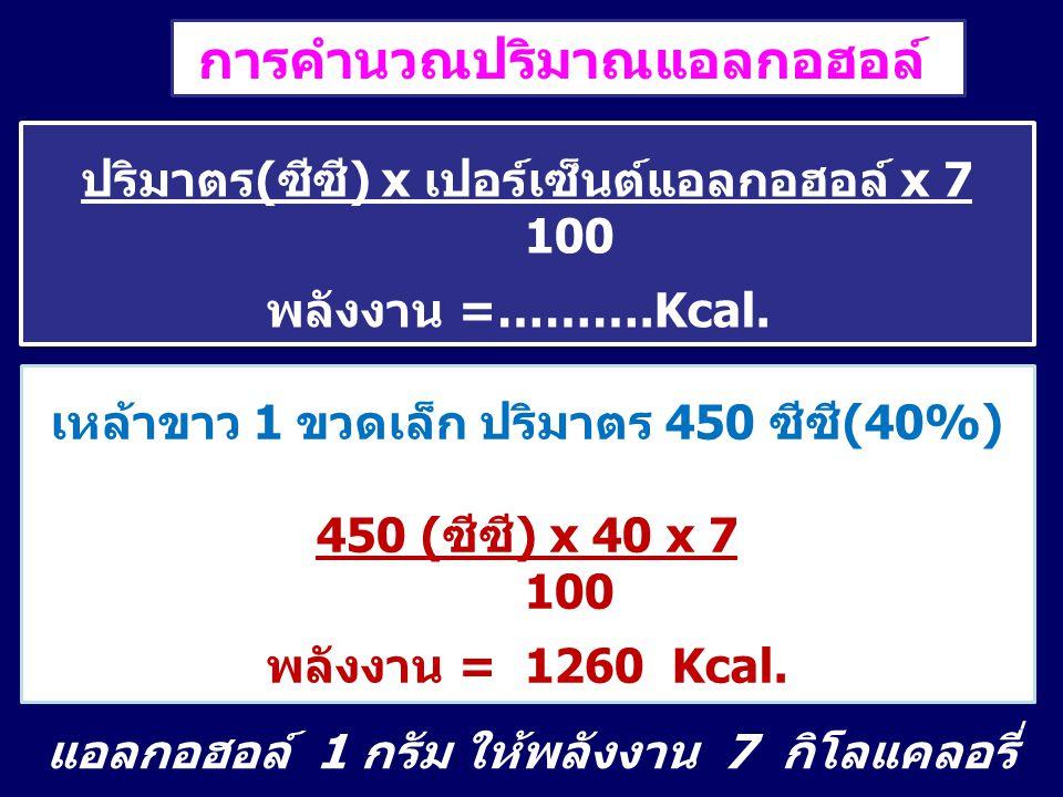 การคำนวณปริมาณแอลกอฮอล์ ปริมาตร(ซีซี) x เปอร์เซ็นต์แอลกอฮอล์ x 7 100 พลังงาน =……….Kcal. ปริมาตร(ซีซี) x เปอร์เซ็นต์แอลกอฮอล์ x 7 100 พลังงาน =……….Kcal