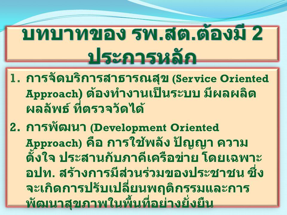 1. การจัดบริการสาธารณสุข (Service Oriented Approach ) ต้องทำงานเป็นระบบ มีผลผลิต ผลลัพธ์ ที่ตรวจวัดได้ 2. การพัฒนา (Development Oriented Approach) คือ