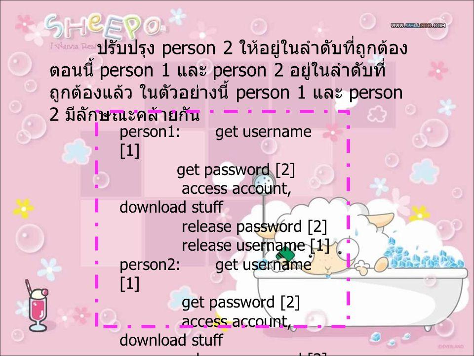 ปรับปรุง person 2 ให้อยู่ในลำดับที่ถูกต้อง ตอนนี้ person 1 และ person 2 อยู่ในลำดับที่ ถูกต้องแล้ว ในตัวอย่างนี้ person 1 และ person 2 มีลักษณะคล้ายกัน person1: get username [1] get password [2] access account, download stuff release password [2] release username [1] person2: get username [1] get password [2] access account, download stuff release password [2] release username [1]