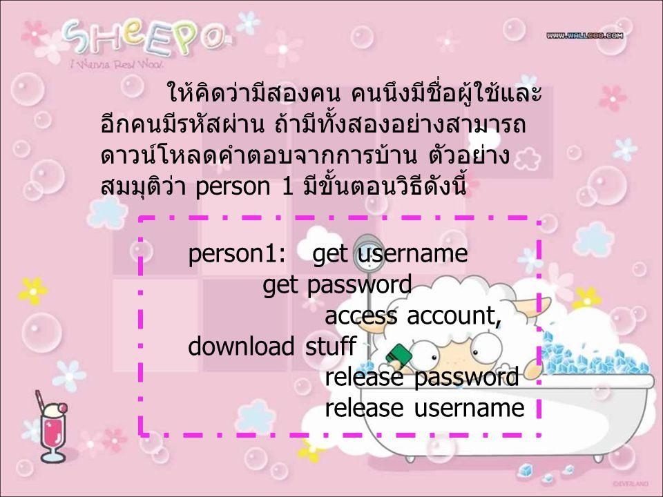 ให้คิดว่ามีสองคน คนนึงมีชื่อผู้ใช้และ อีกคนมีรหัสผ่าน ถ้ามีทั้งสองอย่างสามารถ ดาวน์โหลดคำตอบจากการบ้าน ตัวอย่าง สมมุติว่า person 1 มีขั้นตอนวิธีดังนี้ person1: get username get password access account, download stuff release password release username