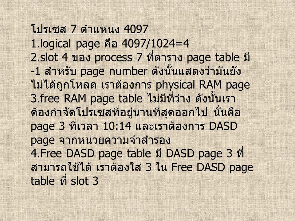 โปรเซส 7 ตำแหน่ง 4097 1.logical page คือ 4097/1024=4 2.slot 4 ของ process 7 ที่ตาราง page table มี -1 สำหรับ page number ดังนั้นแสดงว่ามันยัง ไม่ได้ถูกโหลด เราต้องการ physical RAM page 3.free RAM page table ไม่มีที่ว่าง ดังนั้นเรา ต้องกำจัดโปรเซสที่อยู่นานที่สุดออกไป นั่นคือ page 3 ที่เวลา 10:14 และเราต้องการ DASD page จากหน่วยความจำสำรอง 4.Free DASD page table มี DASD page 3 ที่ สามารถใช้ได้ เราต้องใส่ 3 ใน Free DASD page table ที่ slot 3