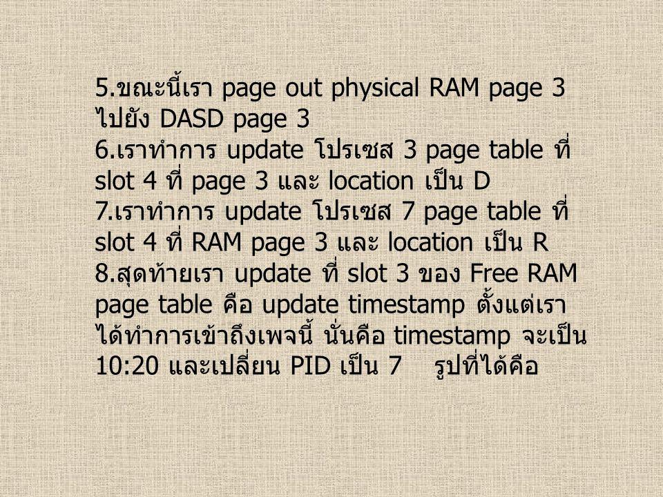 5. ขณะนี้เรา page out physical RAM page 3 ไปยัง DASD page 3 6. เราทำการ update โปรเซส 3 page table ที่ slot 4 ที่ page 3 และ location เป็น D 7. เราทำก