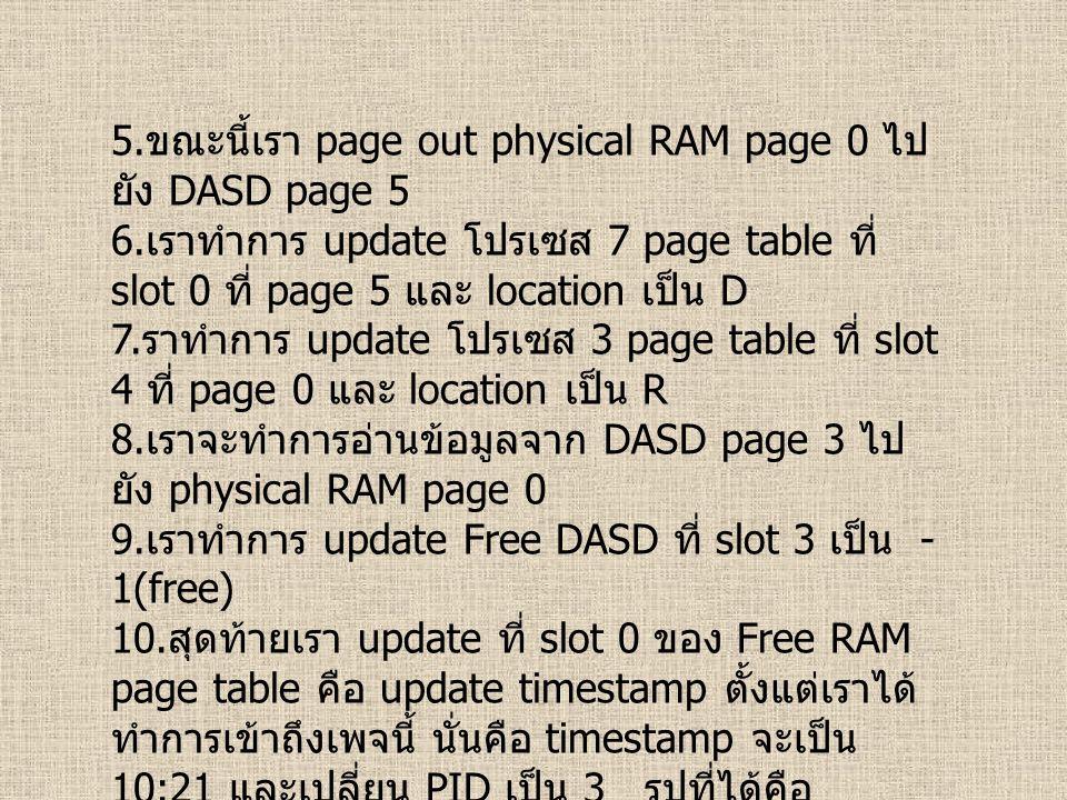 5. ขณะนี้เรา page out physical RAM page 0 ไป ยัง DASD page 5 6. เราทำการ update โปรเซส 7 page table ที่ slot 0 ที่ page 5 และ location เป็น D 7. ราทำก