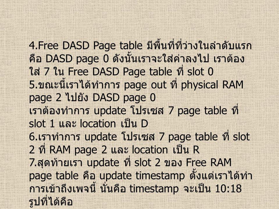 4.Free DASD Page table มีพื้นที่ที่ว่างในลำดับแรก คือ DASD page 0 ดังนั้นเราจะใส่ค่าลงไป เราต้อง ใส่ 7 ใน Free DASD Page table ที่ slot 0 5. ขณะนี้เรา