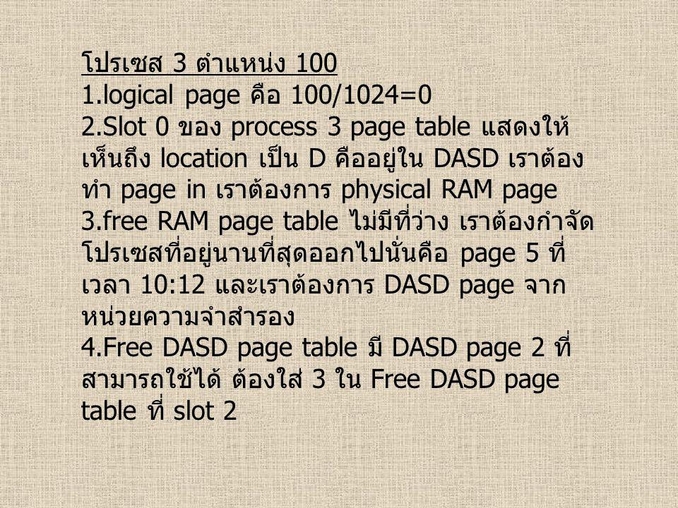 โปรเซส 3 ตำแหน่ง 100 1.logical page คือ 100/1024=0 2.Slot 0 ของ process 3 page table แสดงให้ เห็นถึง location เป็น D คืออยู่ใน DASD เราต้อง ทำ page in เราต้องการ physical RAM page 3.free RAM page table ไม่มีที่ว่าง เราต้องกำจัด โปรเซสที่อยู่นานที่สุดออกไปนั่นคือ page 5 ที่ เวลา 10:12 และเราต้องการ DASD page จาก หน่วยความจำสำรอง 4.Free DASD page table มี DASD page 2 ที่ สามารถใช้ได้ ต้องใส่ 3 ใน Free DASD page table ที่ slot 2