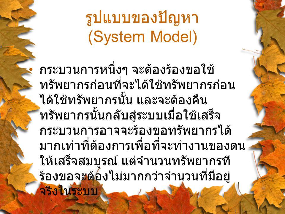 รูปแบบของปัญหา (System Model) กระบวนการหนึ่งๆ จะต้องร้องขอใช้ ทรัพยากรก่อนที่จะได้ใช้ทรัพยากรก่อน ได้ใช้ทรัพยากรนั้น และจะต้องคืน ทรัพยากรนั้นกลับสู่ระบบเมื่อใช้เสร็จ กระบวนการอาจจะร้องขอทรัพยากรได้ มากเท่าที่ต้องการเพื่อที่จะทำงานของตน ให้เสร็จสมบูรณ์ แต่จำนวนทรัพยากรที ร้องขอจะต้องไม่มากกว่าจำนวนที่มีอยู่ จริงในระบบ