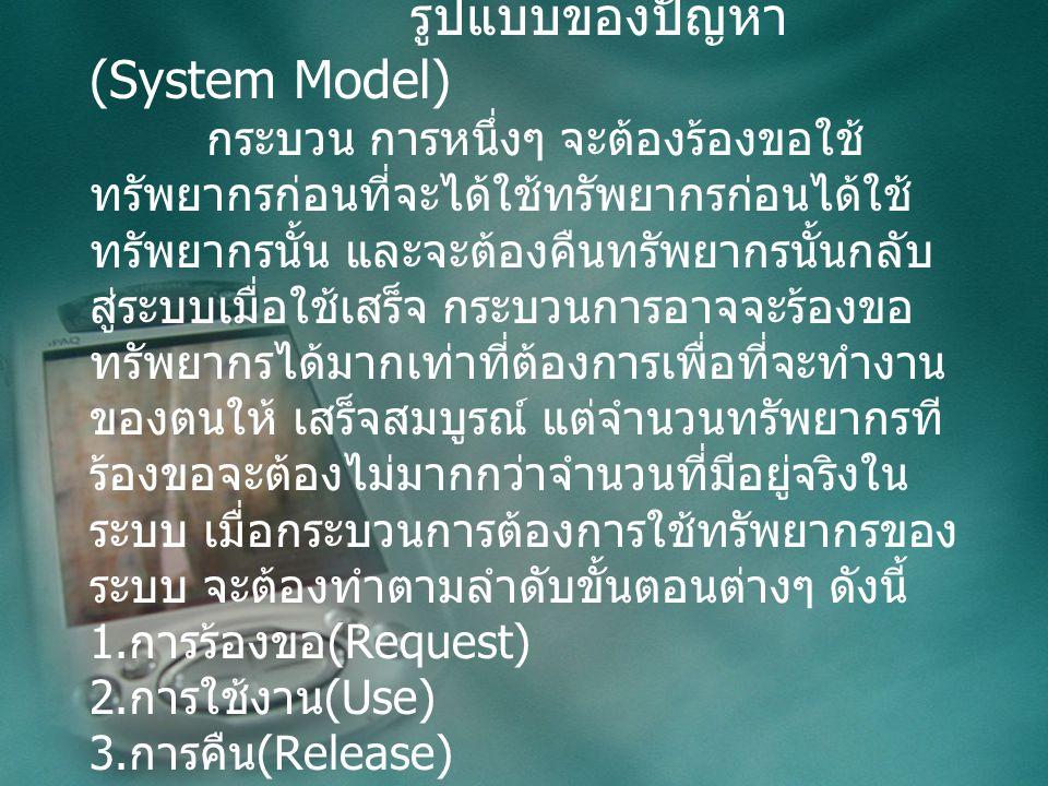 Deadlocks รูปแบบของปัญหา (System Model) กระบวน การหนึ่งๆ จะต้องร้องขอใช้ ทรัพยากรก่อนที่จะได้ใช้ทรัพยากรก่อนได้ใช้ ทรัพยากรนั้น และจะต้องคืนทรัพยากรนั้นกลับ สู่ระบบเมื่อใช้เสร็จ กระบวนการอาจจะร้องขอ ทรัพยากรได้มากเท่าที่ต้องการเพื่อที่จะทำงาน ของตนให้ เสร็จสมบูรณ์ แต่จำนวนทรัพยากรที ร้องขอจะต้องไม่มากกว่าจำนวนที่มีอยู่จริงใน ระบบ เมื่อกระบวนการต้องการใช้ทรัพยากรของ ระบบ จะต้องทำตามลำดับขั้นตอนต่างๆ ดังนี้ 1.