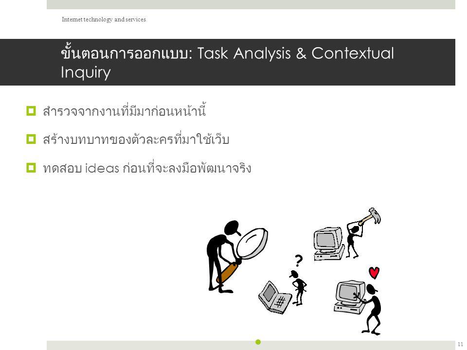 ขั้นตอนการออกแบบ : Task Analysis & Contextual Inquiry  สำรวจจากงานที่มีมาก่อนหน้านี้  สร้างบทบาทของตัวละครที่มาใช้เว็บ  ทดสอบ ideas ก่อนที่จะลงมือพัฒนาจริง Internet technology and services 11