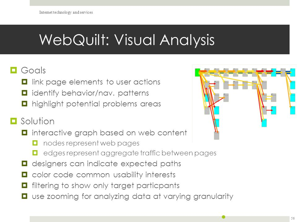 WebQuilt: Visual Analysis  Goals  link page elements to user actions  identify behavior/nav.