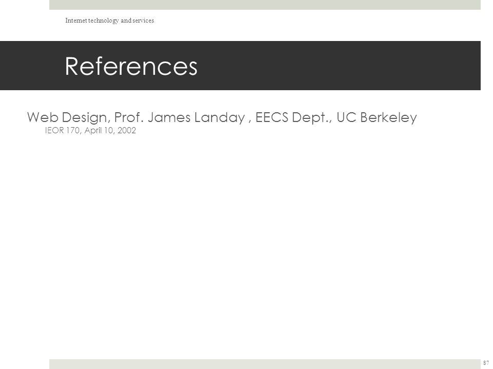 References Web Design, Prof.