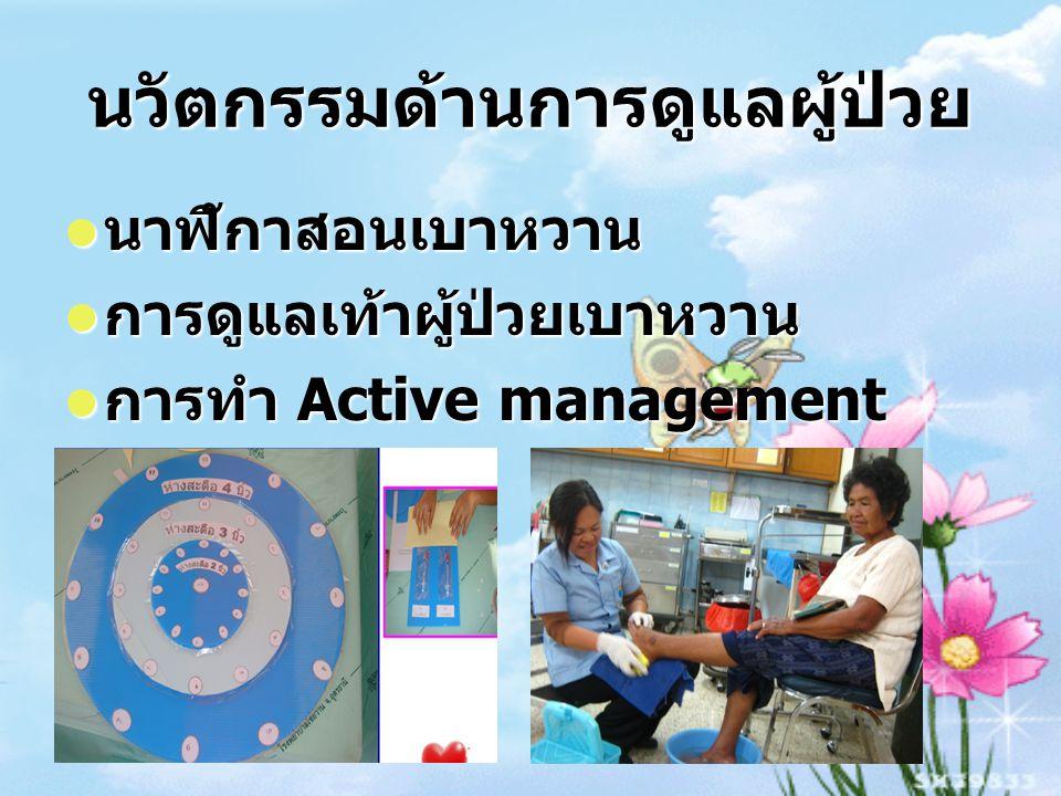 นวัตกรรมด้านการดูแลผู้ป่วย นาฬิกาสอนเบาหวาน นาฬิกาสอนเบาหวาน การดูแลเท้าผู้ป่วยเบาหวาน การดูแลเท้าผู้ป่วยเบาหวาน การทำ Active management การทำ Active