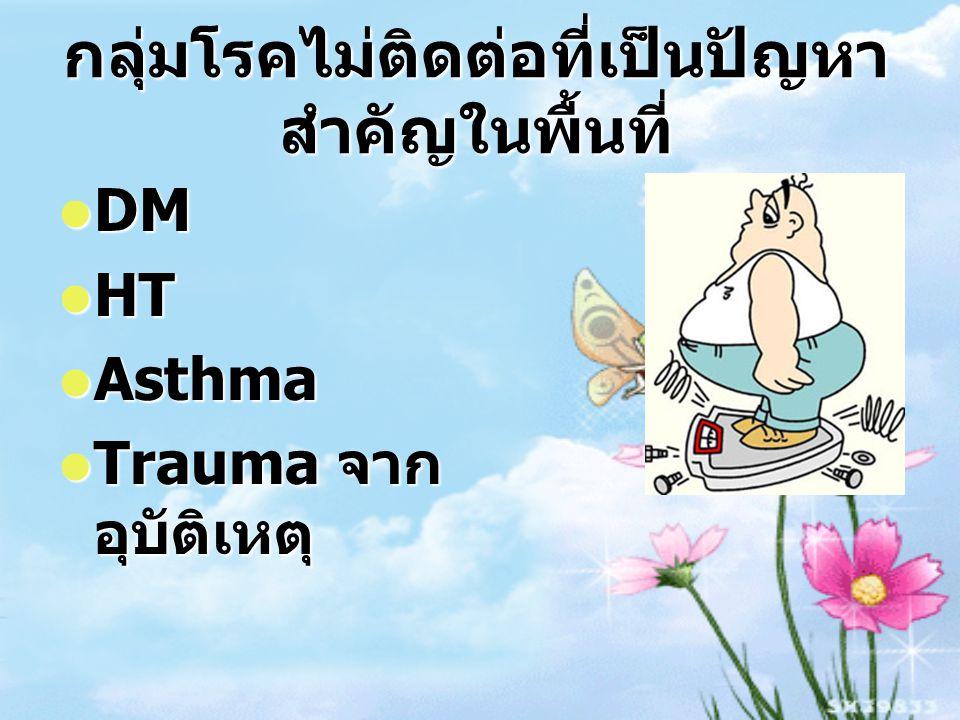 กลุ่มโรคไม่ติดต่อที่เป็นปัญหา สำคัญในพื้นที่ DM DM HT HT Asthma Asthma Trauma จาก อุบัติเหตุ Trauma จาก อุบัติเหตุ