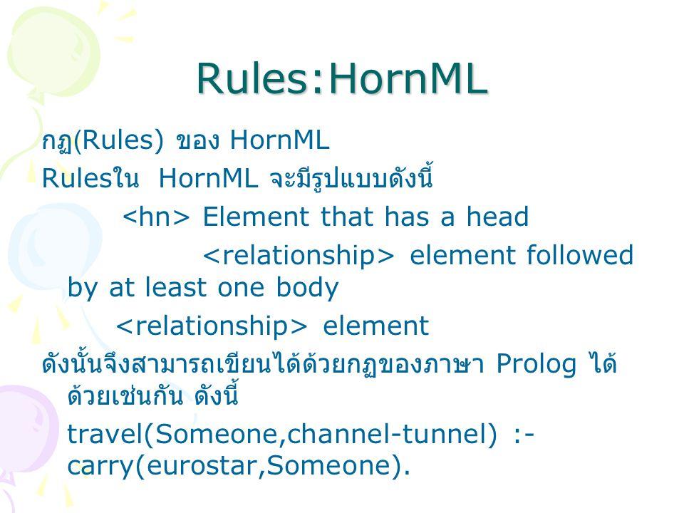 Rules:HornML กฏ (Rules) ของ HornML Rules ใน HornML จะมีรูปแบบดังนี้ Element that has a head element followed by at least one body element ดังนั้นจึงสามารถเขียนได้ด้วยกฏของภาษา Prolog ได้ ด้วยเช่นกัน ดังนี้ travel(Someone,channel-tunnel) :- carry(eurostar,Someone).