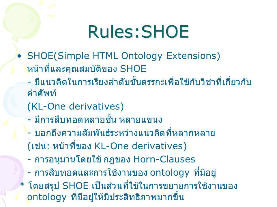 Rules:SHOE SHOE(Simple HTML Ontology Extensions) หน้าที่และคุณสมบัติของ SHOE - มีแนวคิดในการเรียงลำดับชั้นตรรกะเพื่อใช้กับวิชาที่เกี่ยวกับ คำศัพท์ (KL-One derivatives) - มีการสืบทอดหลายชั้น หลายแขนง - บอกถึงความสัมพันธ์ระหว่างแนวคิดที่หลากหลาย ( เช่น : หน้าที่ของ KL-One derivatives) - การอนุมานโดยใช้ กฏของ Horn-Clauses - การสืบทอดและการใช้งานของ ontology ที่มีอยู่ * โดยสรุป SHOE เป็นส่วนที่ใช้ในการขยายการใช้งานของ ontology ที่มีอยู่ให้มีประสิทธิภาพมากขึ้น
