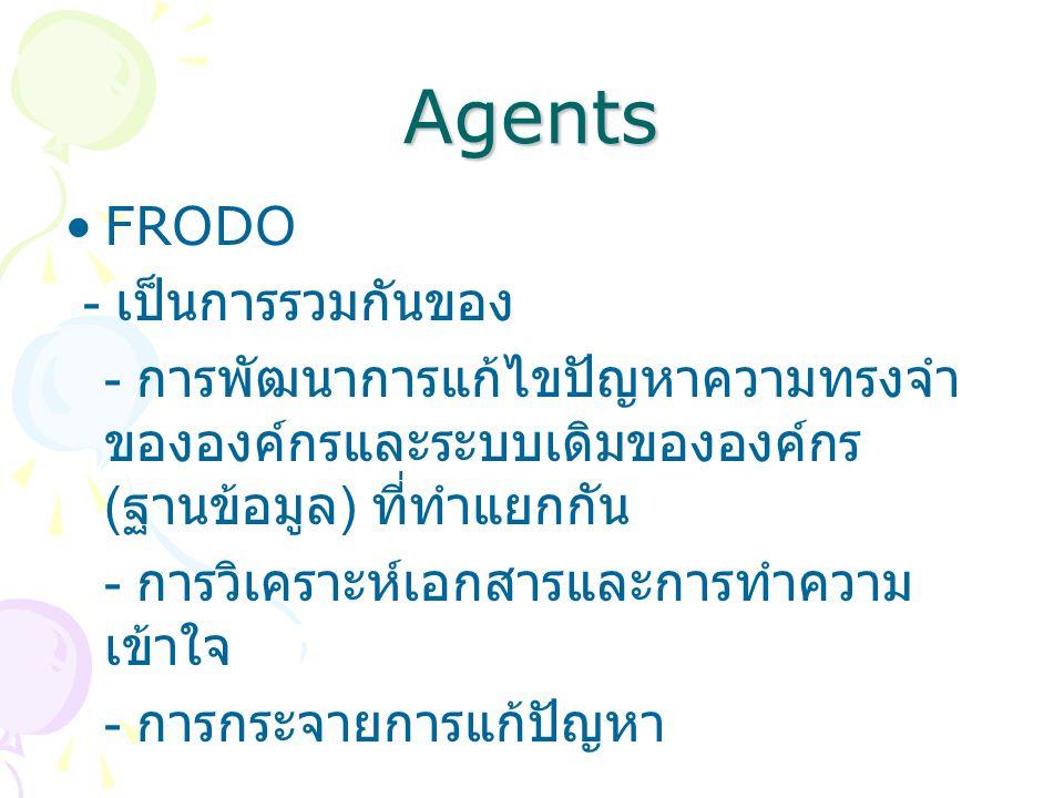 Agents FRODO - เป็นการรวมกันของ - การพัฒนาการแก้ไขปัญหาความทรงจำ ขององค์กรและระบบเดิมขององค์กร ( ฐานข้อมูล ) ที่ทำแยกกัน - การวิเคราะห์เอกสารและการทำความ เข้าใจ - การกระจายการแก้ปัญหา