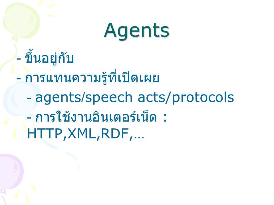 Agents - ขึ้นอยู่กับ - การแทนความรู้ที่เปิดเผย - agents/speech acts/protocols - การใช้งานอินเตอร์เน็ต : HTTP,XML,RDF,…