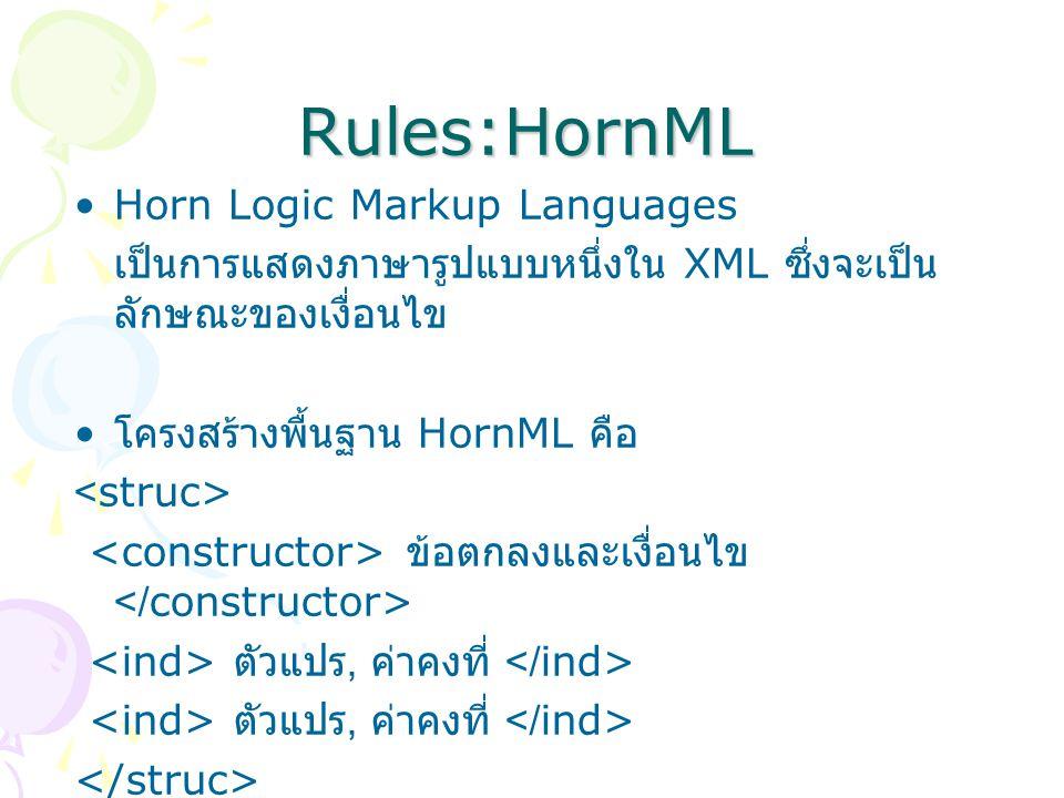 Rules:HornML Horn Logic Markup Languages เป็นการแสดงภาษารูปแบบหนึ่งใน XML ซึ่งจะเป็น ลักษณะของเงื่อนไข โครงสร้างพื้นฐาน HornML คือ ข้อตกลงและเงื่อนไข ตัวแปร, ค่าคงที่