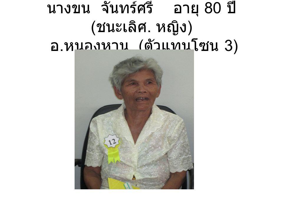 นางขน จันทร์ศรี อายุ 80 ปี ( ชนะเลิศ. หญิง ) อ. หนองหาน ( ตัวแทนโซน 3)