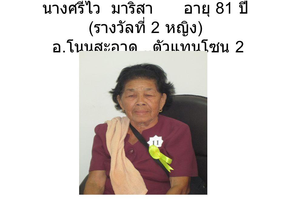 นายศรีรุ่ง ดำแดง อายุ 81 ปี ( รางวัล ที่ 3 ชาย ) อ. บ้านดุง ( ตัวแทนโซน 3)