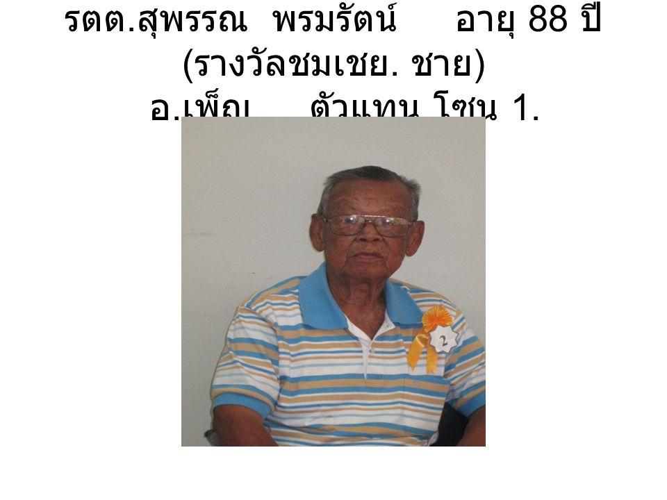 รตต. สุพรรณ พรมรัตน์ อายุ 88 ปี ( รางวัลชมเชย. ชาย ) อ. เพ็ญ ตัวแทน โซน 1.